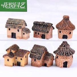 苔蘚微景觀擺飾6款茅草屋房屋樹脂小房子創意工藝品Zakka風 一款2入 隨機出貨