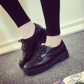 娃娃鞋春夏女鞋英倫風中跟小皮鞋繫帶圓頭復古厚底單鞋娃娃鞋日系鬆糕鞋N43C 館