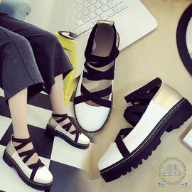 娃娃鞋復古大頭皮鞋鬆糕厚底女休閒N43C 館