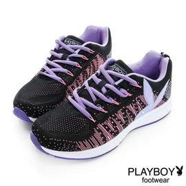 ~MYVINA~PLAYBOY 女鞋 鞋 休閒鞋 活力青春 彈力網布兔頭休閒鞋~黑紫 女