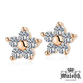 Waishh玩飾不恭~晶亮小花朵~玫金~925純銀耳針式耳環 EA087
