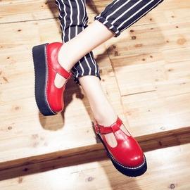 娃娃鞋 復古原宿風娃娃鞋學院風圓頭皮帶扣厚底鬆糕女單鞋英倫小皮鞋N4浪漫衣櫥