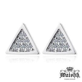 Waishh玩飾不恭~幾何三角~銀色~925純銀耳針式耳環 EA059
