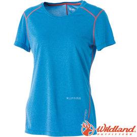 【Wildland 荒野】女圓領雙色排汗抗UV上衣抗紫外線 涼爽散熱 吸濕快乾 登山旅遊★