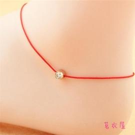 腳鍊日韓編織簡約單鑽紅繩腳鍊配飾品N517