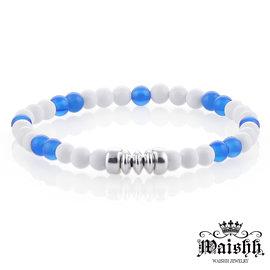 Waishh玩飾不恭【蔚藍天空】925純銀瑪瑙玉髓白硨磲串珠手鍊 FL052