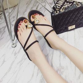 拖鞋~PINKPOKO粉紅波可~ 簡約線條水鑽套趾拖鞋~3色#1998