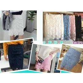 My style(223072)甜美浪漫蕾絲中裙中常窄裙版型~粉 黑 白 藍