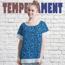 新品 ~ 製~•小清新拼接蕾絲•藍色優雅氣質碎花•甜美風一字領上衣 b33 acr0062