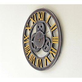 機械工業風 齒輪元件 立體鏤空裝飾羅馬數字掛鐘 LOFT 仿舊 吊掛壁飾酷時鐘 簡約黑灰色