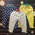 ~棒棒糖 ~(60061)夏女童鬆緊腰波點竹節棉薄長褲 防蚊褲 5-17 藍;黃;灰