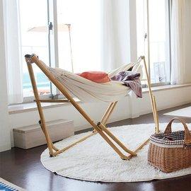 3WAY獨立式木紋 可攜式吊床  吊床椅^(附衣架杆^)