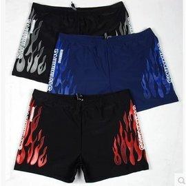 KJstyle泳0361正品高檔男式火焰平角游泳褲 外貿男士四角游泳短褲
