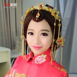 耳環:耳鉤款千色新娘秋荷中式新娘頭飾金紅色結婚鳳冠古裝旗袍秀禾服發飾套裝