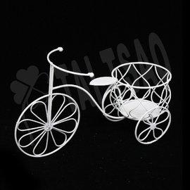 ~ 造花~ ~飾品~^~Y026腳踏車^~~白色鐵製小籃子 騎車 居家佈置 婚禮婚宴會場