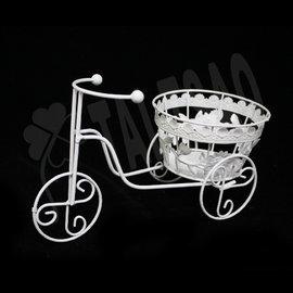 ~ 造花~ ~飾品~^~Y027腳踏車^~~白色鐵製小籃子 騎車 居家佈置 婚禮婚宴會場