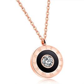 ~ QBOX ~FASHION 飾品~C100N1196~精緻秀氣羅馬數字圓盤鋯石玫瑰K金