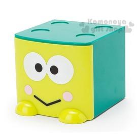 〔小禮堂〕大眼蛙 桌上單抽積木收納盒~綠.大臉~可多個推疊4901610~09092