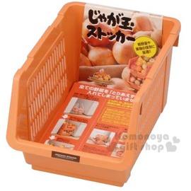 〔小禮堂〕 INOMATA 可疊放附滑輪蔬果收納籃~橘.深長方~耐重10kg4905596