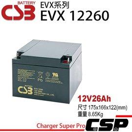 電動車電池更換電池CSB EVX12260 12V26AH  深循環電池 UPS 電動輪椅