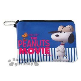 〔小禮堂〕史努比 皮質拉鍊扁平化妝包~藍.白條紋.棒球帽.手抱胸~Peanuts電影系列4