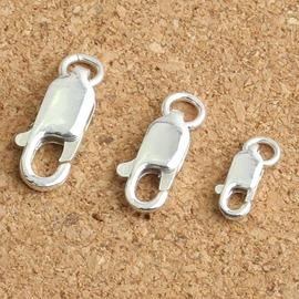 小號S925純銀泰銀 飾品 5mm素銀龍蝦扣項鏈手鏈連接吊墜扣