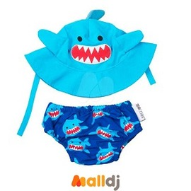 Malldj親子 網 ~ 美國 ZOOCCHiNi 可愛動物泳裝套組~鯊魚 12M~24M