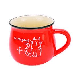 馬克杯 貓咪 350ML 早餐杯 牛奶杯 咖啡杯 陶瓷杯 水杯 ~mocodo魔法豆~