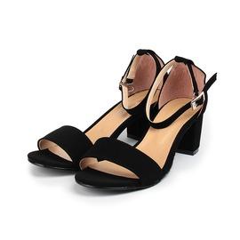 女  YOUNG COLOR 素雅絨布粗跟淑女涼鞋 黑絨 女鞋 鞋全家福