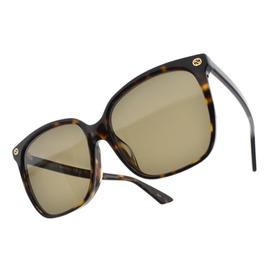 GUCCI 太陽眼鏡 GG0022SA 002 (琥珀棕) 奢華金屬LOGO微貓眼款 墨鏡 # 眼鏡品牌