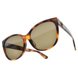 GUCCI 太陽眼鏡 GG0097SA 002 (琥珀棕) 歐美百搭微貓眼款 墨鏡 # 眼鏡品牌