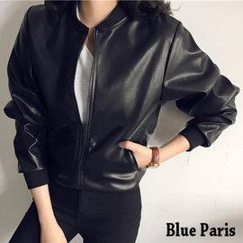 藍色巴黎 ~  風帥氣素面側口袋拉鍊皮衣外套 夾克~28192~