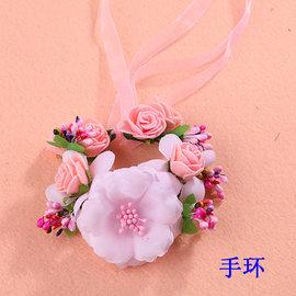 花環韓式新娘頭飾婚紗仿真花朵發箍森女海邊度假沙灘頭花 手環 ─ CH1652