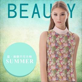 ~新品~ 製~高領短版無袖撞色拼接 ~繽紛日系花卉~ 簡約修身背心 b25 acr0284