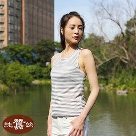 岱妮蠶絲 ~  NWL1BA01  蠶系列 ~ 長版內搭蠶絲條紋背心 灰白 6H