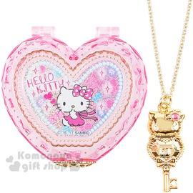 〔小禮堂〕Hello Kitty 迷你心型飾品盒《透明粉.側坐》附造型鑰匙項鍊4901610-63129