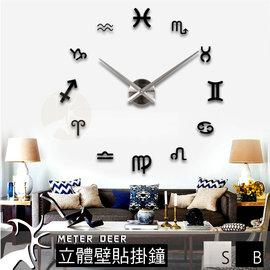 壁貼 時鐘 DIY超大立體靜音掛鐘 專櫃正品  鏡面 兩色互變 12星座款 特色浪漫時鐘~