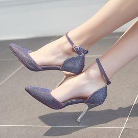 黑色高跟細跟尖頭8cm側空中跟女單鞋春夏 水鑽 涼鞋小跟鞋~日韓 館~3C 館