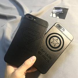 iphone8 美國隊長仿皮革軟殼 iphone8plus 手機殼 超人 印花 黑底 全包