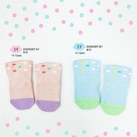 《DKGP387》寬口 彩虹點點 短襪 童襪 腳底止滑 兩種顏色 三段尺寸 單雙