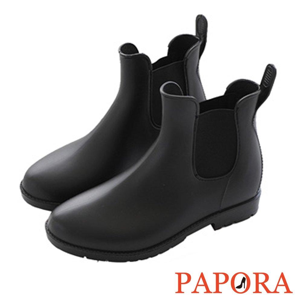 雨鞋雨靴‧簡約側鬆緊切爾西短筒雨靴【K902】黑
