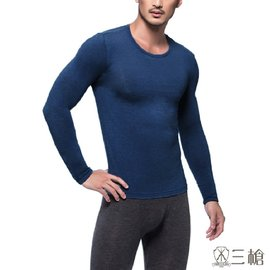 ~三槍牌~ 型男圓領 製TG~HEAT長袖發熱衣~2件組丈青色
