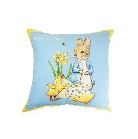 【玫瑰物语】彼得兔蓝色小兔抱枕47X47cm含枕心正版授权黄色普普风蓝格卡通立兔台湾制造数码印花不脱色寝饰沙发靠枕圣诞节