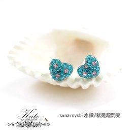 銀飾純銀耳環 愛心 SWAROVSKI水鑽 粉紅湖水綠 賺滿滿 925純銀寶石耳環 KATE 銀飾