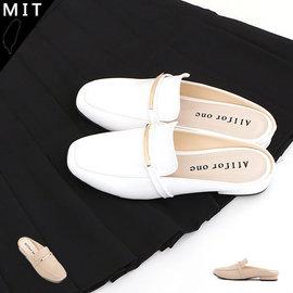 女款 一字金屬裝飾方頭前包後空樂福拖鞋 懶人鞋 穆勒鞋 低跟鞋 涼拖鞋 休閒鞋 MIT A