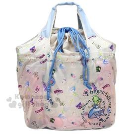 〔小禮堂〕迪士尼 愛麗絲 折疊式環保 袋~L.米灰.掉落.時鐘~4543479~14262