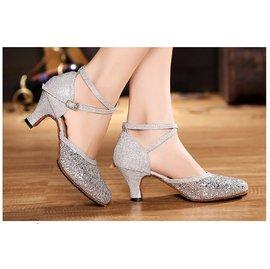 閃亮摩登包頭拉丁廣場舞鞋