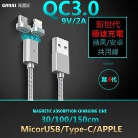 充電線加購  GARAS 急速快充 QC3.0 升級版 手機雙面可吸 磁吸線 安卓 蘋果