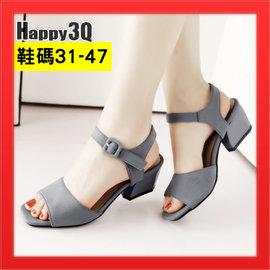圓頭平底鞋露腳趾涼鞋平底鞋女鞋子粗跟女鞋大 47小 31~灰 紅 綠31~47~AAA35