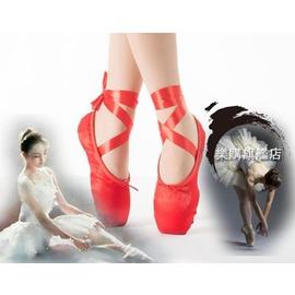 成人兒童芭蕾舞鞋足尖鞋緞面帆布粉色紅色足尖鞋硬底練功鞋尖鞋I11
